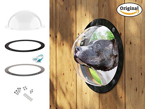 Lucky Lamb ® Gardenscout - Das Zaun Fenster ins Freie für Hund Katze oder andere Haustiere. EIN Bullauge aus robustem Acryl auch für Spielhaus oder Hundehütte