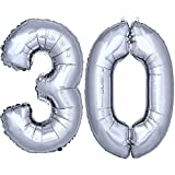 DekoRex® Folienballon Zahlenballon Heliumballon Luftballon Geburtstag Deko 120cm Zahl Silber 30