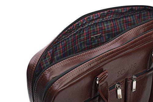 Solier echtes Leder Herren Schulter Laptop Tasche Premium Dundee SL01 (Braun) Kastanienbraun
