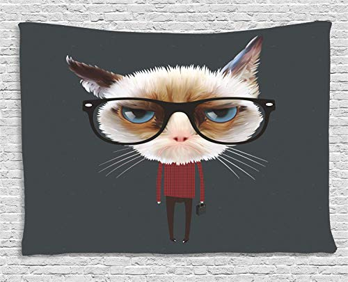 MLNHY Cat Tapestry, Hipster Feline with Giant Head Plaid Shirt and Greyscale Background Funny Illustration, Wall Hanging for Bedroom Living Room Dorm, 80 W X 60 L Inches, Multicolor - Giant Plaid Shirt
