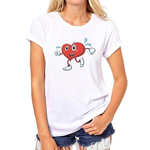 Gym Strong Yoga Fitnes Sweating Hearth Damen T-Shirt Weiß