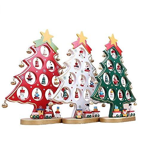 Pixnor Xmas Dekoration DIY-Weihnachtsbaum mit Miniatur Holz Ornamente Weihnachten Tisch Schreibtisch Dekoration rot