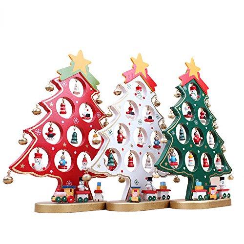 LUOEM Aus Holz Weihnachtsbaum Dekoration Weihnachten Tisch Schreibtisch Baum Rot