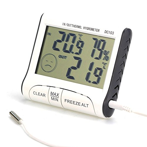 XXLYY Innenthermometer Hygrometer, Außenthermometer mit Magnetfuß Max/Min Memoria Speicher ° C / ° F Schalter Komfort Gesichtsausdruck Sonde Klappständer Kühlschrank Küche Gewächshaus Hause -