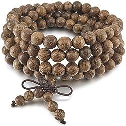 MunkiMix 8mm Madera Pulsera Brazalete Eslabones Link Enlace Muñeca Collar Cadena Tibetano Budista Gris Bola Bead Oración Budismo Budista Mala Chino Nudo Knot Elástico Hombre,Mujer