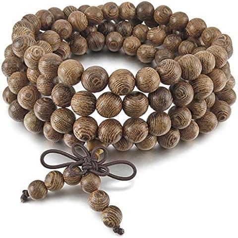 MunkiMix 8mm Madera Pulsera Brazalete Eslabones Link Enlace Muñeca Collar Cadena Tibetano Budista Gris Bola Bead Oración Budismo Budista Mala Chino Nudo Knot Elástico