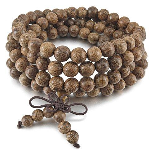 MunkiMix 8mm Holz Armband Link Handgelenk Halskette Kette Tibetische Buddhist Buddhistischen Braun Kugel Perle Perlen Gebet Buddha Gebet Mala Chinesisch Knoten Dreiecksknoten Elastisch Herren,Damen