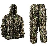 Pellor Niños Uniforme de Camuflaje, Jungle Caza Ghillie Suit Lluvia Poncho Ropa Adecuado para Ocultar de Jugar, Exterior, Caza, Getrennt