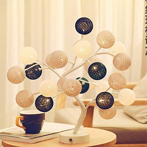 Dekorative Lampe Handgefertigt Wattebausch Baum Lampe Schlafzimmer Geschenk Nachtlicht Led Tischlampe Grau -