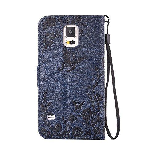 Cover Samsung Galaxy S5, Cover Farfalle e Fiori Handmade Bling Diamanti, Alfort Cover Protettiva Premium Goffrata PU di alta qualità Flip Case Cover per Samsung Galaxy S5 5.1 Smartphone Cover di Cuoi Blu Scuro