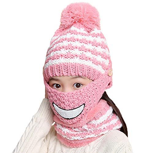 Verlike Winter Warme gestrickte Plüsch Beanie Schal mit Maske Set für Kinder Mädchen...
