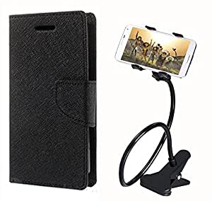 Aart Fancy Diary Card Wallet Flip Case Back Cover For Samsung 7100 - (Black) + 360 Rotating Bed Tablet Moblie Phone Holder Universal Car Holder Stand Lazy Bed Desktop for by Aart store.