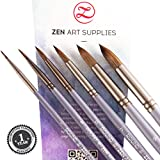 ZenArt Supplies Black Velvet Professional Artist Paint Brushes 6-Piece Set for Watercolor, Gouache, Acrylics and Oil Painting - Round Squirrel and Synthetic Mix w/Short Handle