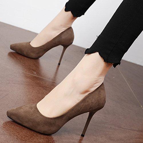 FLYRCX Le donne in primavera e in autunno semplice scamosciato punta singola calzatura personalità del mondo della moda di alta partito scarpe tacco B