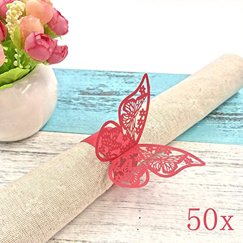 JZK® 50 x Rot Schmetterling Perlenpapier Serviettenringe Tischdekoration Set für Hochzeit Taufe Geburtstag Party Weihnachten Abendessen Serviette Ringe Dekoration (Rot)