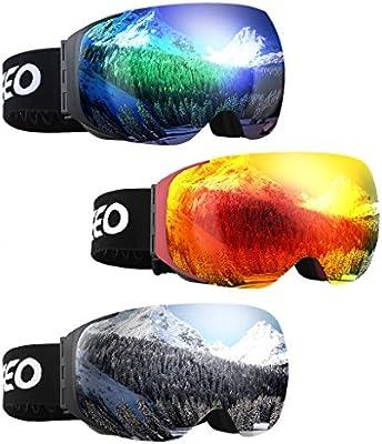 Enkeeo - Gafas de Esquí, de Snowboard (Lente de dual capa Anti-Niebla, 100% UV400 protección, marco doblable, correa antideslizante