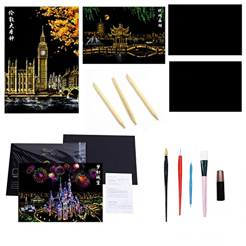 zziert Rainbow Scratch Papier Skizze Kunst Malerei Papiere Blätter + 3 Stk Leer DIY Kratzen Papier + 3 Stk Bambus Stöcke + 5 Stk Tools (Rainbow Scratch Paper)