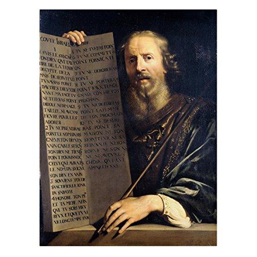 Leinwandbild - Philippe de Champaigne - Mose hält die Tafel mit den Zehn Geboten - Hoch 4: 3, Größe HxB: 120cm x 90cm