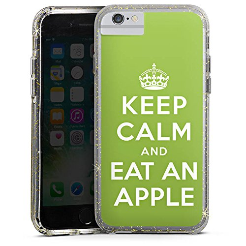 Apple iPhone 6s Plus Bumper Hülle Bumper Case Glitzer Hülle Keep Calm Apfel Statements Bumper Case Glitzer gold