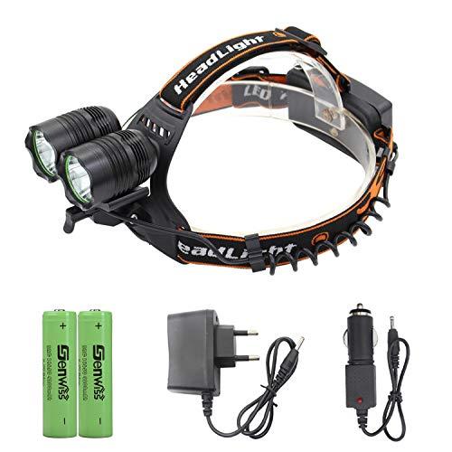 Siuyiu 2 XT6 LED 5000 Lumen 90 Grad Drehung Aluminum Alloy 3 Switch Modi Stirnlampe für Camping Biking Jagen Fischen Reiten Walking