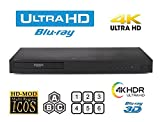 LG UBK90 UHD Streaming 4K 2D/3D Region-Free Blu Ray Disc DVD Player -PAL/NTSC USB 100-240V 50/60Hz for World-Wide Use with 6 Feet Multi System 4K HDMI Cable