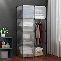 House of Quirk Portable Closet Wardrobe Bedroom Storage Organizer with Doors 8 Cube & 1 Hanger - Translucent White Panel
