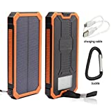 Solar Charger, Stoon 12000mAh Solar Power Bank Portable External Battery Pack with Dual USB Ports & Solar LED Lights for iPhone, iPad, Samsung, All Smartphones, Outdoor Camping Travelling (Orange)