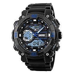 Skmei Dual time zone analog digital wrist watch for men & Women - 1228- Blue