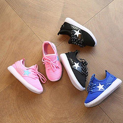 Bild von QinMM Kleinkind Baby Mode Turnschuhe Sterne Leucht Kind Casual Bunte Licht Schuhe Mesh Sommer Sportschuhe Schwarz Blau Rosa 21-35