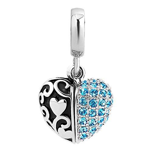 Korliya i love you heart charm pendenti cristallo perline per braccialetti, rame, colore: blue, cod. emw_dpc_fa501_x03