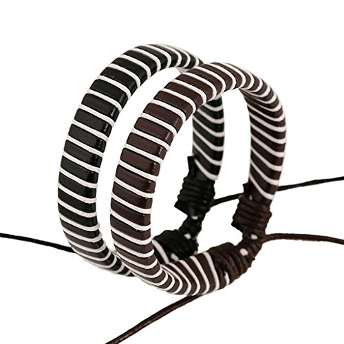 Gnzoe Gioielli Bracciali Uomo/Donne In pelle Perlina Braccialetto Polsino Ropes Tessuto Couple String (Brown Bracciale In Pelle Intrecciato Il Braccialetto)