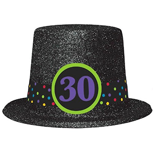 The Party Continuous 30th Birthday Party Glitter Top Hat , Black , 9.5, Glitterred Fabric by Amscan (Birthday Hüte Black Party)