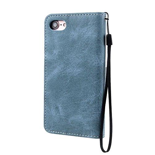 Wkae Retro verrückte Pferd Textur Kontrast Farbe Horizontale Flip Leder Tasche mit Halter & Card Slots & Wallet & Foto Frame & Lanyard für iPhone 7 ( Color : Brown ) Blue