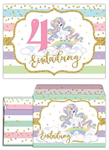 ungskarten incl. 10 Umschläge zum 4. Kindergeburtstag Mädchen Einhorn Regenbogen Einladungen vierte Geburtstag ()