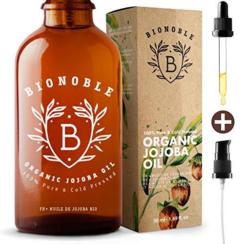 BIONOBLE BIO JOJOBAÖL 100% Rein, Natürlich, Kaltgepresst, Vegan | Glaspipette, Pumpe & Recycelbar Glasflasche | Jojoba Öl für Haut, Gesicht, Haare, Körper | Anti-Akne | Organic Jojoba Oil (50ml)