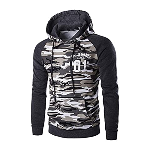 YouPue Homme Casual Coton Sweat à capuche Vestes Camouflage Hoodies Sweatshirts Gris Asia 2XL