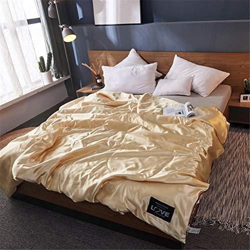 HD-Dreamer Sommer Steppdecke Tagesdecke, Bettdecken Tröster Waschbar Leichter, Single/Double/Queen Imitierte Seide,Gold,200x230cm - Gold Queen Tröster