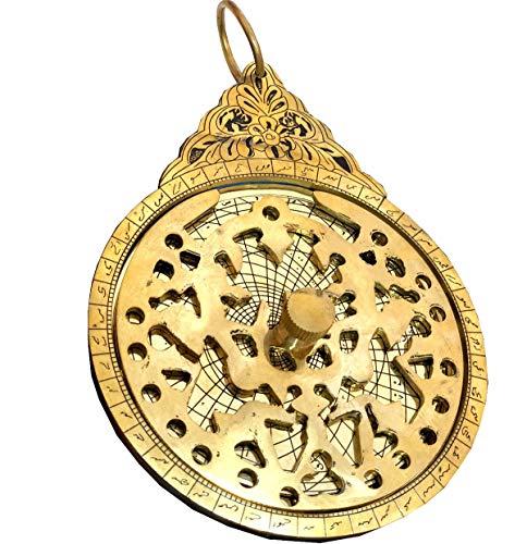 Antiques World Fine Calibration Beautiful Hanging Hand Engraved Brass Arabic Astrolabe Globe Maritime Navigational Astrological Calendar Antique Replica AWUSABI 024