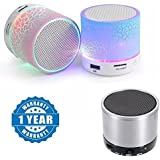 Drumstone Colorful LED Light Crack Pattern Mini Stereo Portable Wireless Bluetooth Speaker With S10 Wireless Portable LED Bluetooth Speaker With Disco Lights Works With All Android Or Iphone Devices (1 Year Warranty, Color May Vary)