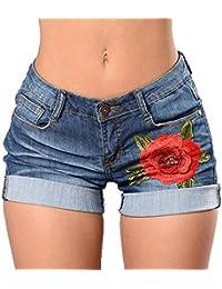 Sfit™ Femme Jeans Shorts Pantalons Été Courtes Décontracté Elasticité Motif Fleur