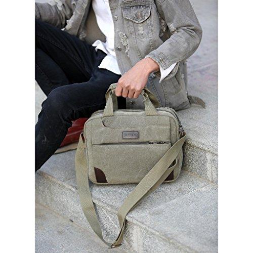 Outreo Umhängetasche Herren Aktentasche Canvas Tasche Laptop Messenger Bag Vintage Schultertasche Freitag Taschen f¨¹r Reisetasche Sport Schule Retro Weekender Herrentaschen Segeltuchtaschen Grün