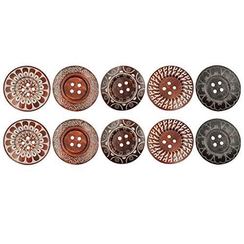 Schnitzen Druckmuster Tasten Kunst Retro Holzknöpfe zum Stricken oder Häkeln Produkte Große Größe 6 cm 4 Löcher ()