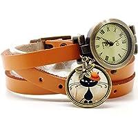 montre cuir bracelet 3 liens cabochon bronze illustré vintage, chat, orange, cadeau noel, cadeau femme, cadeau saint valentin, idée cadeau