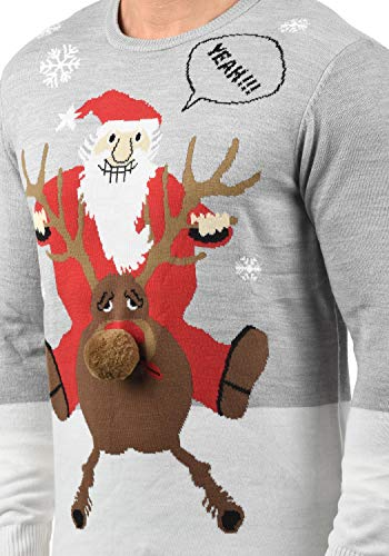 Blend Rudolph Herren Strickpullover Weihnachtspullover Mit Rundhalsausschnitt, Größe:S, Farbe:Stone Mix/Santa (75148)