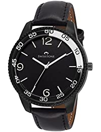 SWISSTONE GR621 Black Leather Strap Analog Wrist Watch For Men/Boys