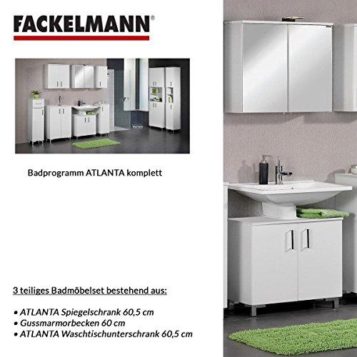 Fackelmann Badmöbel Set Atlanta 3-tlg. 60 cm weiß mit Waschtisch Unterschrank & Gussmarmorbecken & LED Spiegelschrank