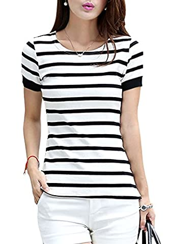 WmcyWell Women's Fashionable Stripes Round Neck Short Sleeve T-Shirt Tops 16, White
