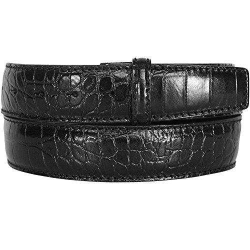 LORD OF LABEL gepraegtes Guertelband Kroko schwarz GBPL2001C 90 cm -
