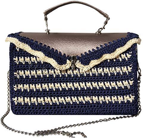 Gestreifte gestrickte Schultertasche an der Kette.Blau-beige Handtasche,Bowler bag medium. Exklusive Tasche - Gucci Medium Umhängetasche