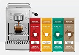 Get Toast Coffee 100 Nespresso Compatible Coffee Capsules - Variety Pack (30 x Colombia, 30 x Sumatra, 20 x Ethiopia, 20 x Brazil) from Toast Coffee